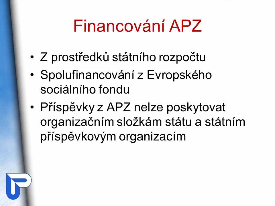 Financování APZ Z prostředků státního rozpočtu Spolufinancování z Evropského sociálního fondu Příspěvky z APZ nelze poskytovat organizačním složkám státu a státním příspěvkovým organizacím