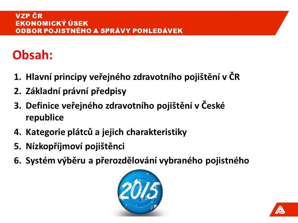 1.Hlavní principy veřejného zdravotního pojištění v ČR 2.Základní právní předpisy 3.Definice veřejného zdravotního pojištění v České republice 4.Kategorie plátců a jejich charakteristiky 5.Nízkopříjmoví pojištěnci 6.Systém výběru a přerozdělování vybraného pojistného Obsah: VZP ČR EKONOMICKÝ ÚSEK ODBOR POJISTNÉHO A SPRÁVY POHLEDÁVEK