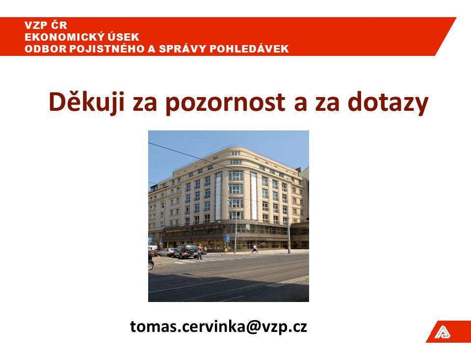 Děkuji za pozornost a za dotazy tomas.cervinka@vzp.cz VZP ČR EKONOMICKÝ ÚSEK ODBOR POJISTNÉHO A SPRÁVY POHLEDÁVEK