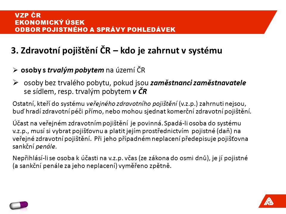 3.Zdravotní pojišťovny v ČR a počty jejich pojištěnců k 1.