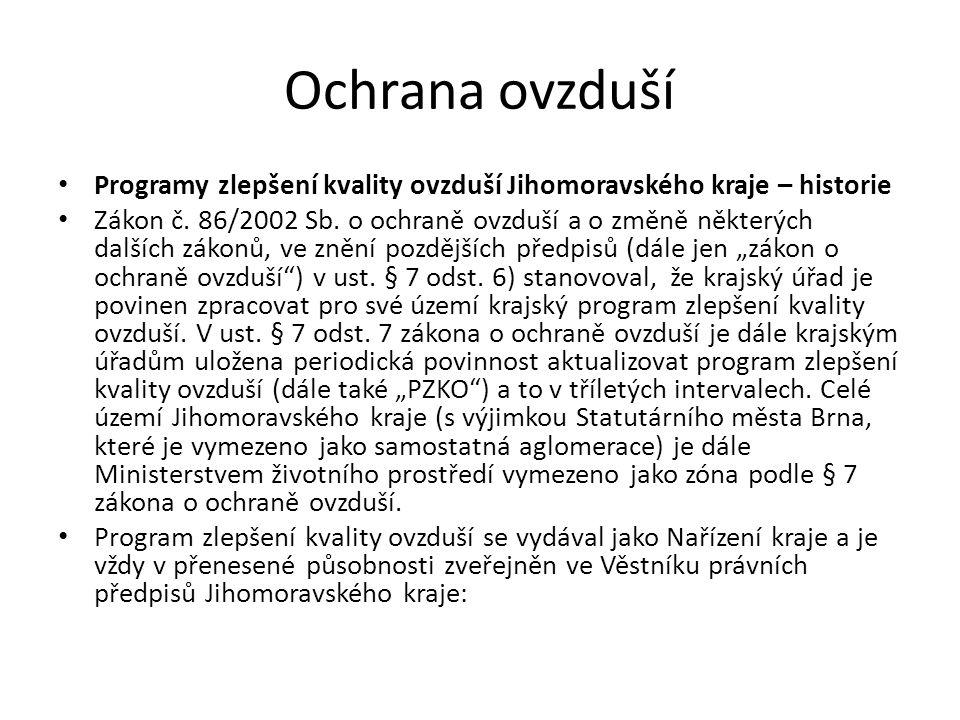 Ochrana ovzduší Programy zlepšení kvality ovzduší Jihomoravského kraje – historie Zákon č.