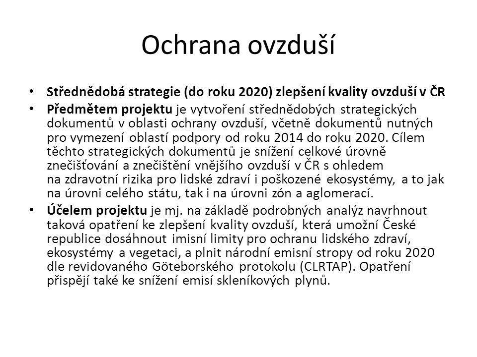 Ochrana ovzduší Střednědobá strategie (do roku 2020) zlepšení kvality ovzduší v ČR Předmětem projektu je vytvoření střednědobých strategických dokumentů v oblasti ochrany ovzduší, včetně dokumentů nutných pro vymezení oblastí podpory od roku 2014 do roku 2020.