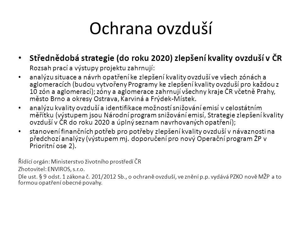 Ochrana ovzduší Střednědobá strategie (do roku 2020) zlepšení kvality ovzduší v ČR Rozsah prací a výstupy projektu zahrnují: analýzu situace a návrh opatření ke zlepšení kvality ovzduší ve všech zónách a aglomeracích (budou vytvořeny Programy ke zlepšení kvality ovzduší pro každou z 10 zón a aglomerací); zóny a aglomerace zahrnují všechny kraje ČR včetně Prahy, město Brno a okresy Ostrava, Karviná a Frýdek-Místek.