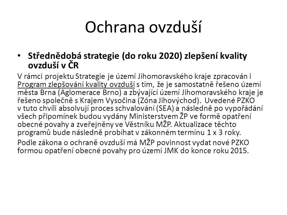 Ochrana ovzduší Střednědobá strategie (do roku 2020) zlepšení kvality ovzduší v ČR V rámci projektu Strategie je území Jihomoravského kraje zpracován i Program zlepšování kvality ovzduší s tím, že je samostatně řešeno území města Brna (Aglomerace Brno) a zbývající území Jihomoravského kraje je řešeno společně s Krajem Vysočina (Zóna Jihovýchod).
