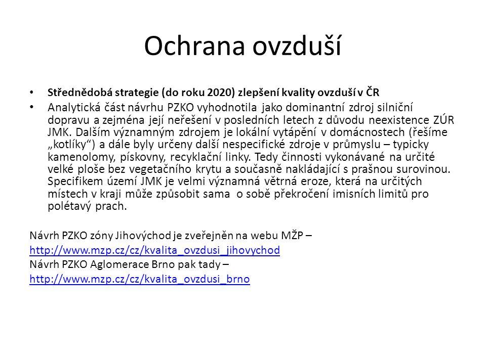 Ochrana ovzduší Střednědobá strategie (do roku 2020) zlepšení kvality ovzduší v ČR Analytická část návrhu PZKO vyhodnotila jako dominantní zdroj silniční dopravu a zejména její neřešení v posledních letech z důvodu neexistence ZÚR JMK.