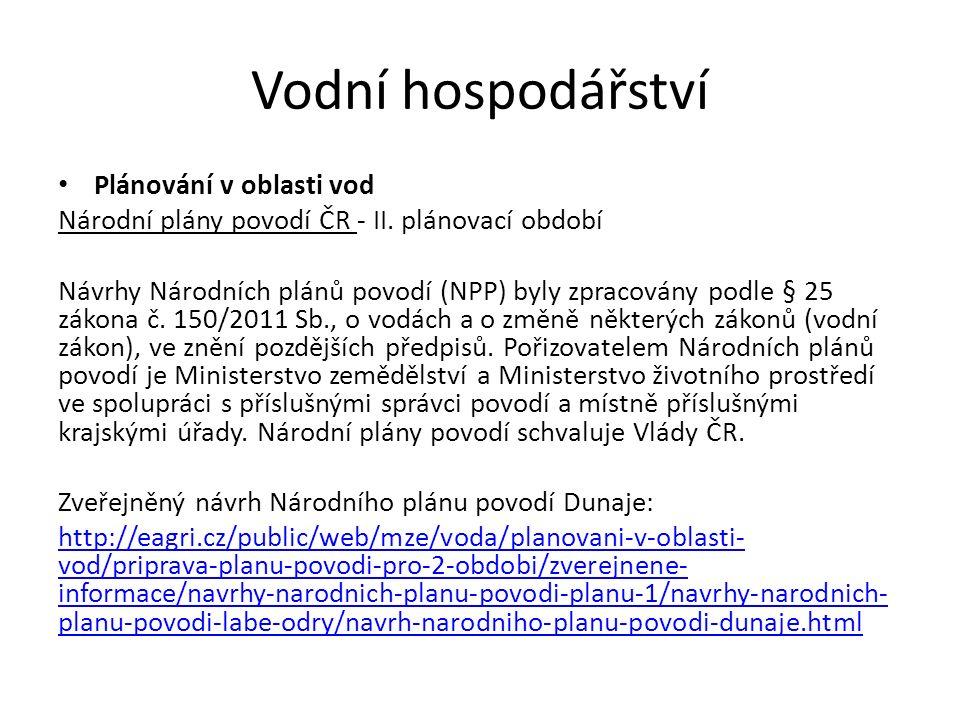 Vodní hospodářství Plánování v oblasti vod Plány dílčích povodí Moravy a přítoků Váhu a Dyje - II.