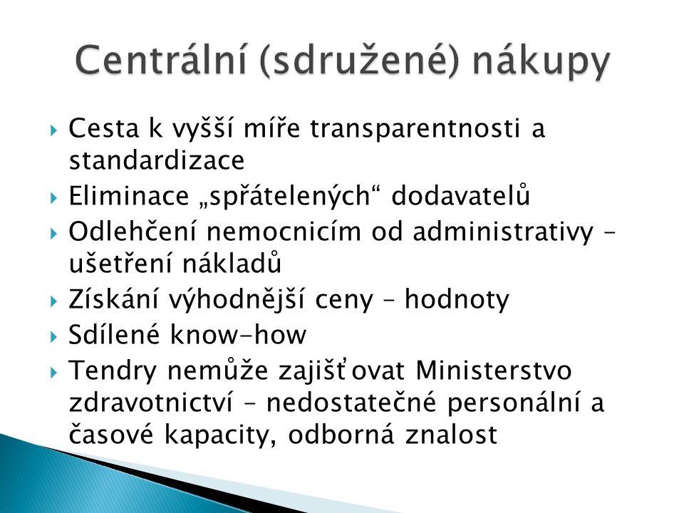 """ Cesta k vyšší míře transparentnosti a standardizace  Eliminace """"spřátelených"""" dodavatelů  Odlehčení nemocnicím od administrativy – ušetření náklad"""