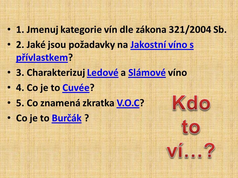 1.Jmenuj kategorie vín dle zákona 321/2004 Sb. 2.