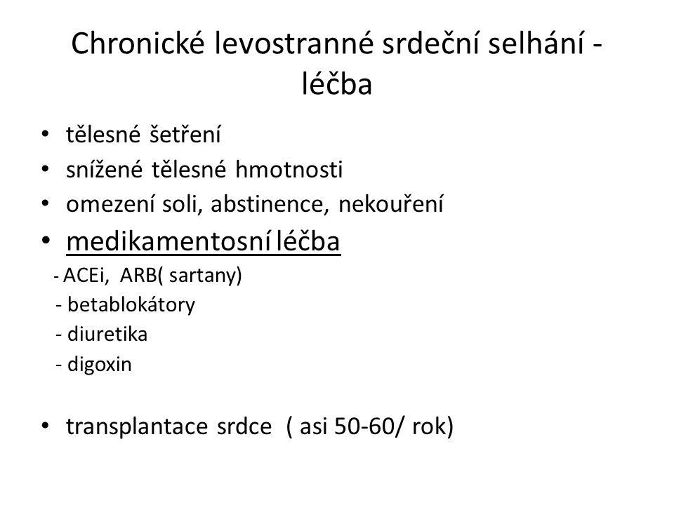 Chronické levostranné srdeční selhání - léčba tělesné šetření snížené tělesné hmotnosti omezení soli, abstinence, nekouření medikamentosní léčba - ACEi, ARB( sartany) - betablokátory - diuretika - digoxin transplantace srdce ( asi 50-60/ rok)