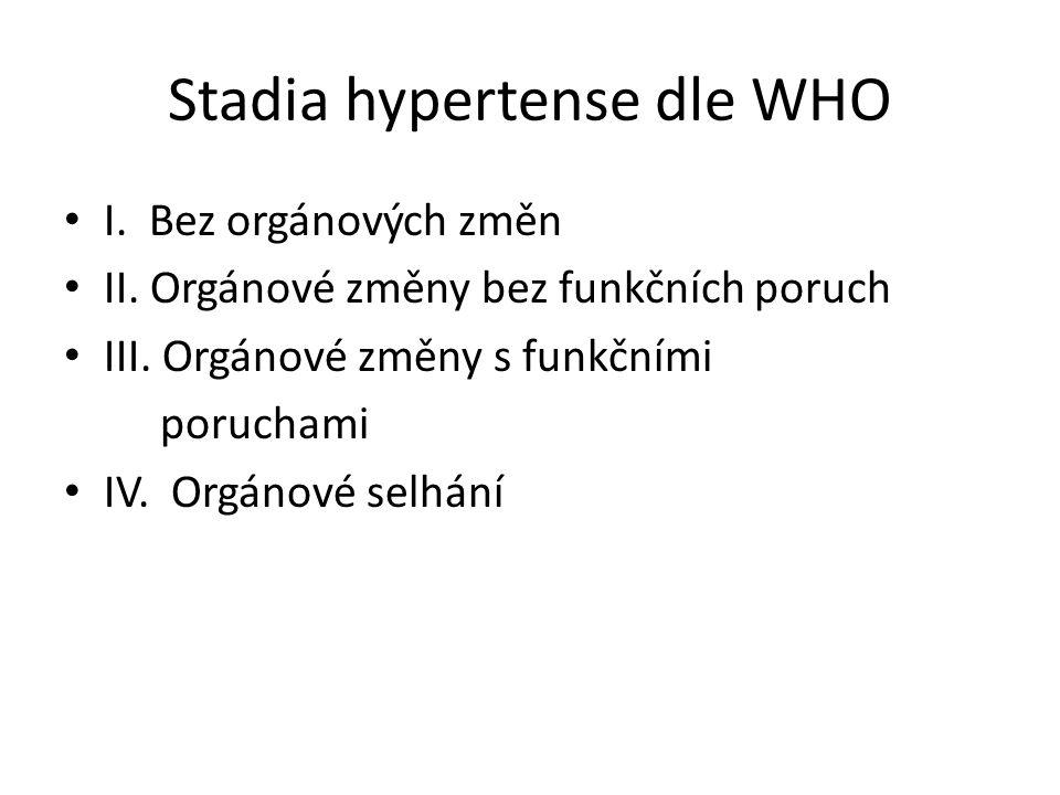 Stadia hypertense dle WHO I. Bez orgánových změn II.