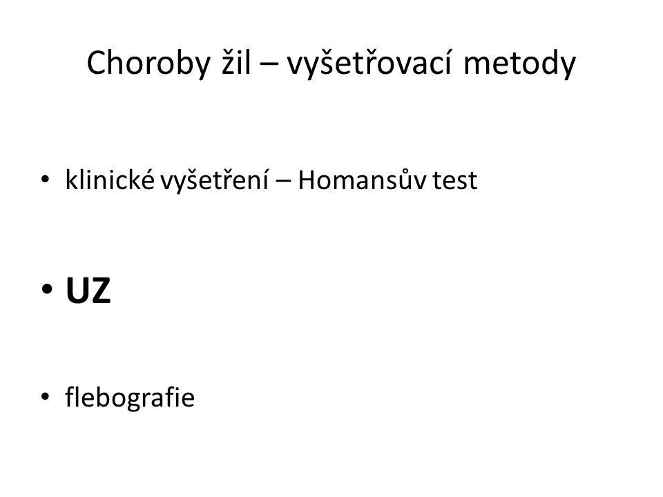 Choroby žil – vyšetřovací metody klinické vyšetření – Homansův test UZ flebografie