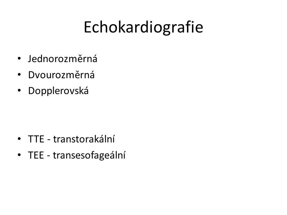 Echokardiografie Jednorozměrná Dvourozměrná Dopplerovská TTE - transtorakální TEE - transesofageální
