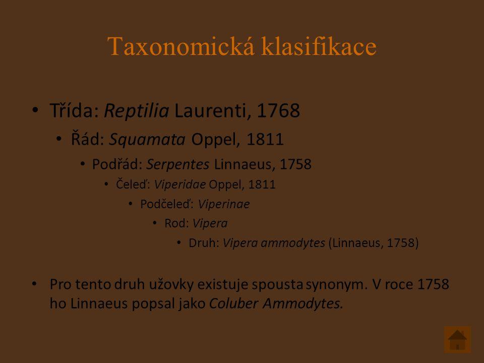 Taxonomická klasifikace Třída: Reptilia Laurenti, 1768 Řád: Squamata Oppel, 1811 Podřád: Serpentes Linnaeus, 1758 Čeleď: Viperidae Oppel, 1811 Podčeleď: Viperinae Rod: Vipera Druh: Vipera ammodytes (Linnaeus, 1758) Pro tento druh užovky existuje spousta synonym.