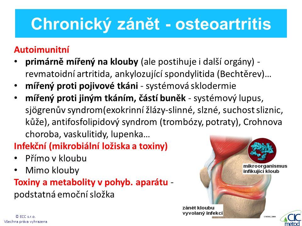 Chronický zánět - osteoartritis Autoimunitní primárně mířený na klouby (ale postihuje i další orgány) - revmatoidní artritida, ankylozující spondylitida (Bechtěrev)… mířený proti pojivové tkáni - systémová sklodermie mířený proti jiným tkáním, částí buněk - systémový lupus, sjögrenův syndrom(exokrinní žlázy-slinné, slzné, suchost sliznic, kůže), antifosfolipidový syndrom (trombózy, potraty), Crohnova choroba, vaskulitidy, lupenka… Infekční (mikrobiální ložiska a toxiny) Přímo v kloubu Mimo klouby Toxiny a metabolity v pohyb.