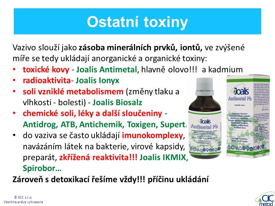 Ostatní toxiny Vazivo slouží jako zásoba minerálních prvků, iontů, ve zvýšené míře se tedy ukládají anorganické a organické toxiny: toxické kovy - Joalis Antimetal, hlavně olovo!!.