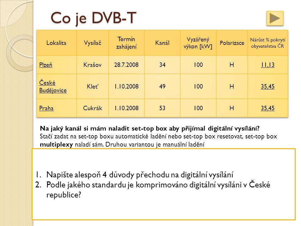 Co je DVB-T Na jaký kanál si mám naladit set-top box aby přijímal digitální vysílání.