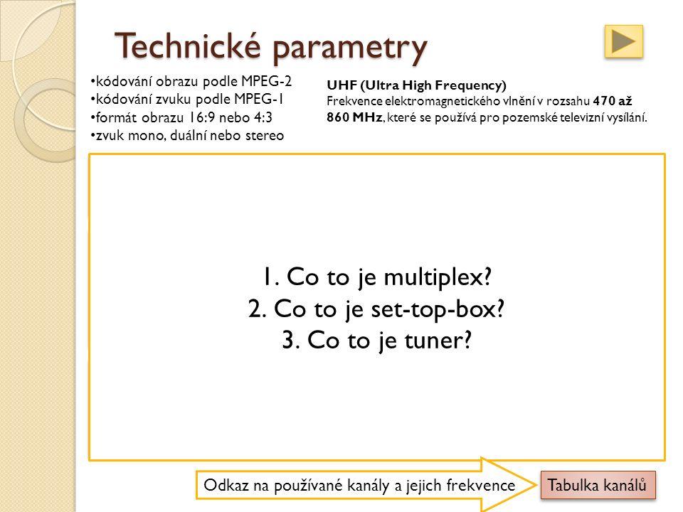 Technické parametry kódování obrazu podle MPEG-2 kódování zvuku podle MPEG-1 formát obrazu 16:9 nebo 4:3 zvuk mono, duální nebo stereo Multiplex Soubor datových toků jednotlivých televizních a rozhlasových stanic, který je vysílán na jediné frekvenci.