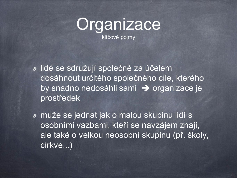 Organizace klíčové pojmy lidé se sdružují společně za účelem dosáhnout určitého společného cíle, kterého by snadno nedosáhli sami  organizace je pros