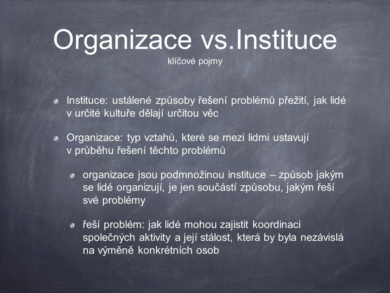 Organizace vs.Instituce klíčové pojmy Instituce: ustálené způsoby řešení problémů přežití, jak lidé v určité kultuře dělají určitou věc Organizace: ty
