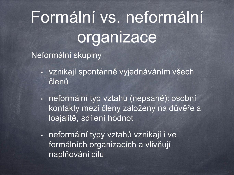 Formální vs. neformální organizace Neformální skupiny vznikají spontánně vyjednáváním všech členů neformální typ vztahů (nepsané): osobní kontakty mez