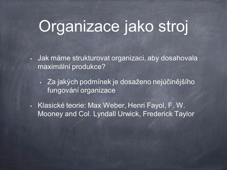 Organizace jako organizmus Organizace jako seskupení navzájem propojených lidských, technických, tržních potřeb Organizace řeší, jak přežít Organizační humanisté