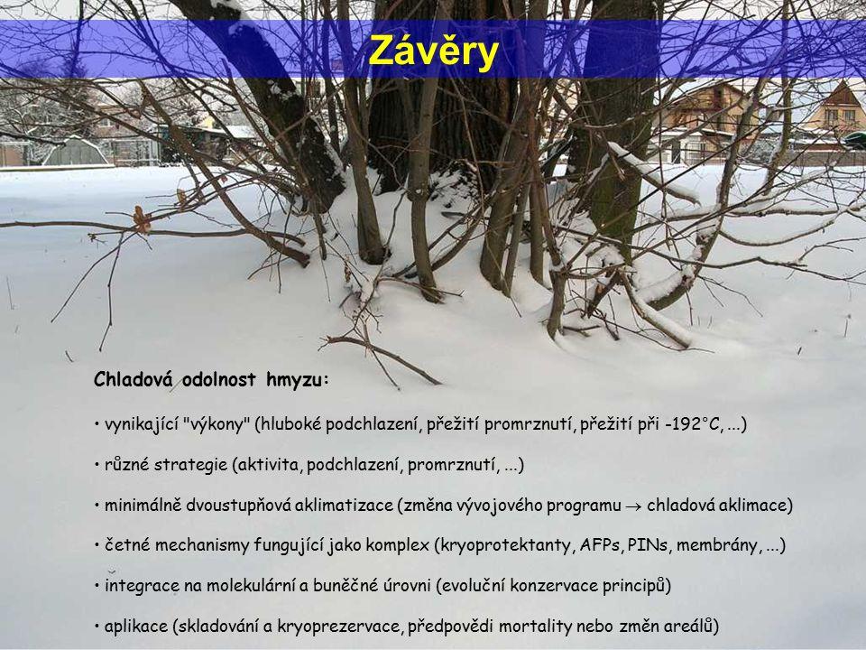Závěry Chladová odolnost hmyzu: vynikající výkony (hluboké podchlazení, přežití promrznutí, přežití při -192°C,...) různé strategie (aktivita, podchlazení, promrznutí,...) minimálně dvoustupňová aklimatizace (změna vývojového programu  chladová aklimace) četné mechanismy fungující jako komplex (kryoprotektanty, AFPs, PINs, membrány,...) integrace na molekulární a buněčné úrovni (evoluční konzervace principů) aplikace (skladování a kryoprezervace, předpovědi mortality nebo změn areálů)