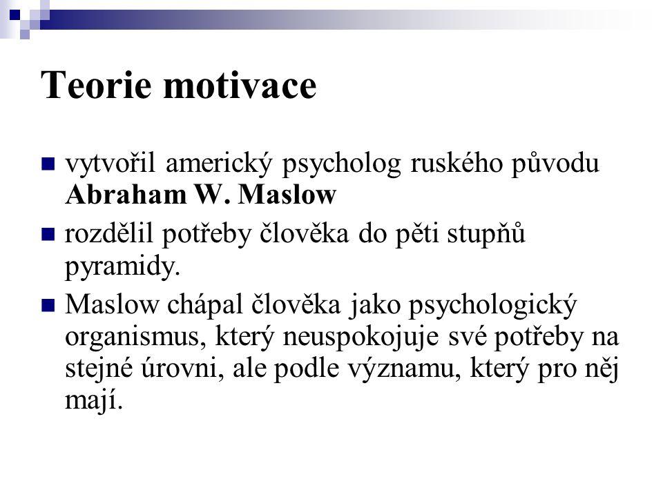 Teorie motivace vytvořil americký psycholog ruského původu Abraham W.