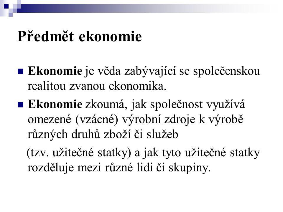 Předmět ekonomie Ekonomie je věda zabývající se společenskou realitou zvanou ekonomika.
