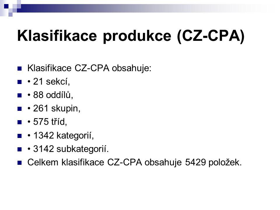 Klasifikace produkce (CZ-CPA) Klasifikace CZ-CPA obsahuje: 21 sekcí, 88 oddílů, 261 skupin, 575 tříd, 1342 kategorií, 3142 subkategorií.