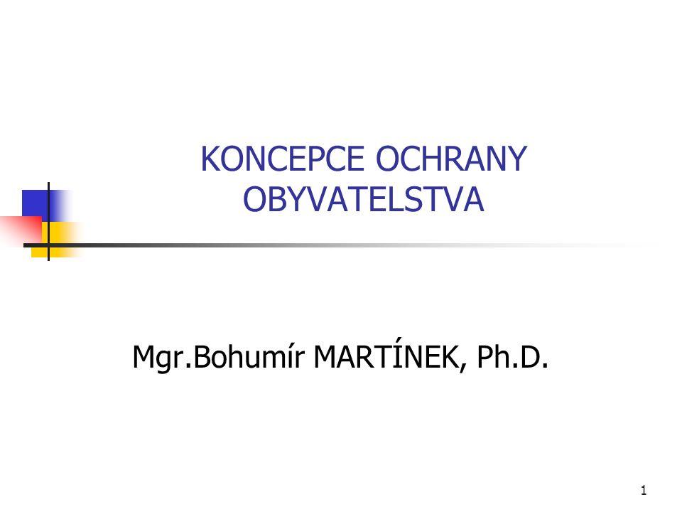 KONCEPCE OCHRANY OBYVATELSTVA Mgr.Bohumír MARTÍNEK, Ph.D. 1