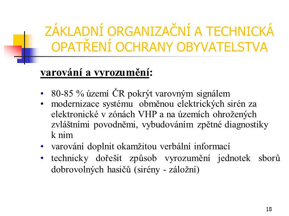ZÁKLADNÍ ORGANIZAČNÍ A TECHNICKÁ OPATŘENÍ OCHRANY OBYVATELSTVA varování a vyrozumění: 80-85 % území ČR pokrýt varovným signálem modernizace systému obměnou elektrických sirén za elektronické v zónách VHP a na územích ohrožených zvláštními povodněmi, vybudováním zpětné diagnostiky k nim varování doplnit okamžitou verbální informací technicky dořešit způsob vyrozumění jednotek sborů dobrovolných hasičů (sirény - záložní) 18