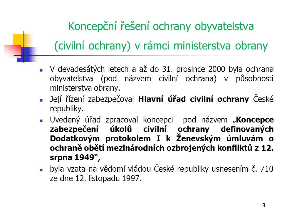 Koncepční řešení ochrany obyvatelstva (civilní ochrany) v rámci ministerstva obrany V devadesátých letech a až do 31.