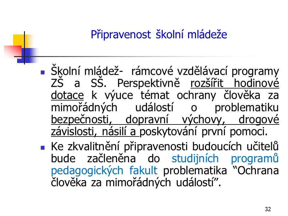 Připravenost školní mládeže Školní mládež- rámcové vzdělávací programy ZŠ a SŠ.