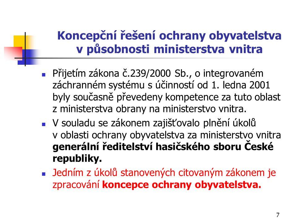 Koncepční řešení ochrany obyvatelstva v působnosti ministerstva vnitra Přijetím zákona č.239/2000 Sb., o integrovaném záchranném systému s účinností od 1.