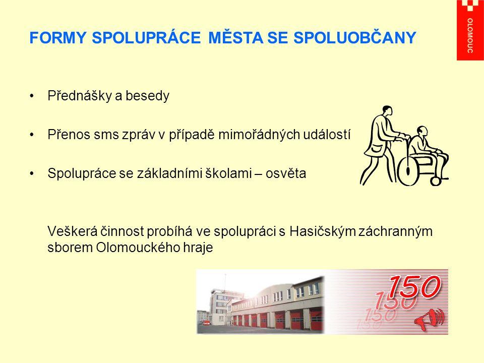 Přednášky a besedy Přenos sms zpráv v případě mimořádných událostí Spolupráce se základními školami – osvěta Veškerá činnost probíhá ve spolupráci s Hasičským záchranným sborem Olomouckého hraje FORMY SPOLUPRÁCE MĚSTA SE SPOLUOBČANY