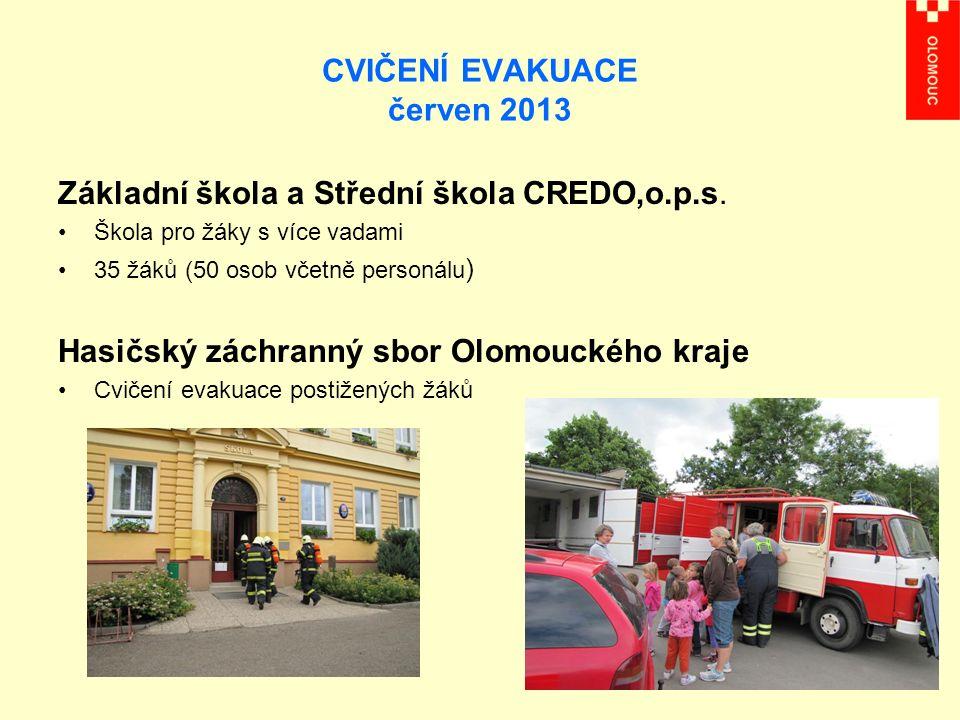 CVIČENÍ EVAKUACE červen 2013 Základní škola a Střední škola CREDO,o.p.s.