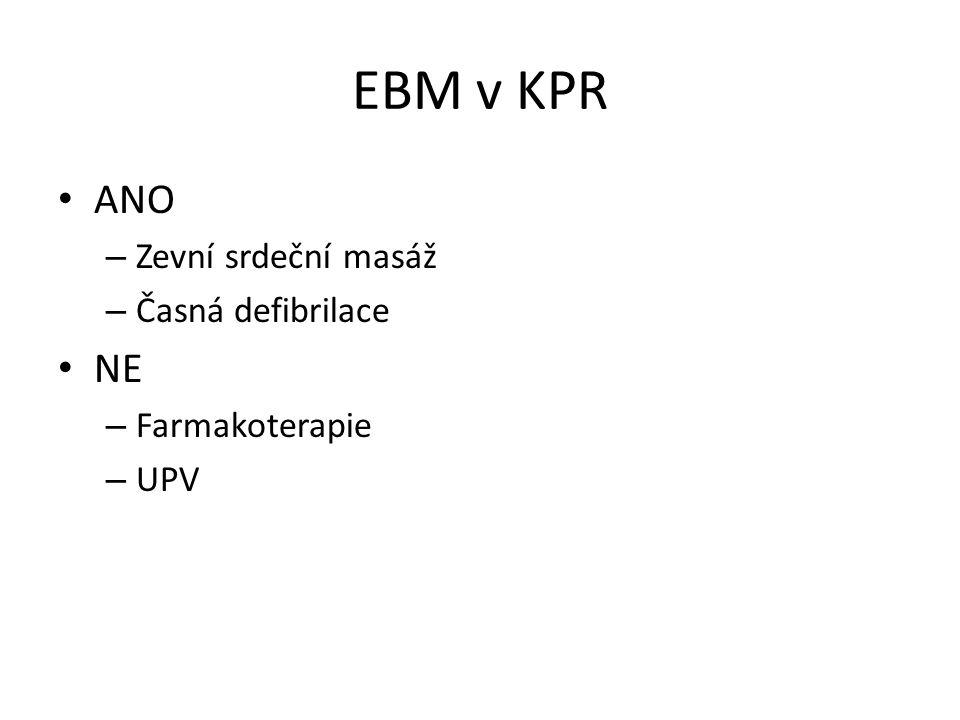EBM v KPR ANO – Zevní srdeční masáž – Časná defibrilace NE – Farmakoterapie – UPV