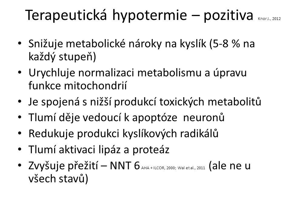 Terapeutická hypotermie – pozitiva Knor J., 2012 Snižuje metabolické nároky na kyslík (5-8 % na každý stupeň) Urychluje normalizaci metabolismu a úpravu funkce mitochondrií Je spojená s nižší produkcí toxických metabolitů Tlumí děje vedoucí k apoptóze neuronů Redukuje produkci kyslíkových radikálů Tlumí aktivaci lipáz a proteáz Zvyšuje přežití – NNT 6 AHA + ILCOR, 2000; Wal et al., 2011 (ale ne u všech stavů)