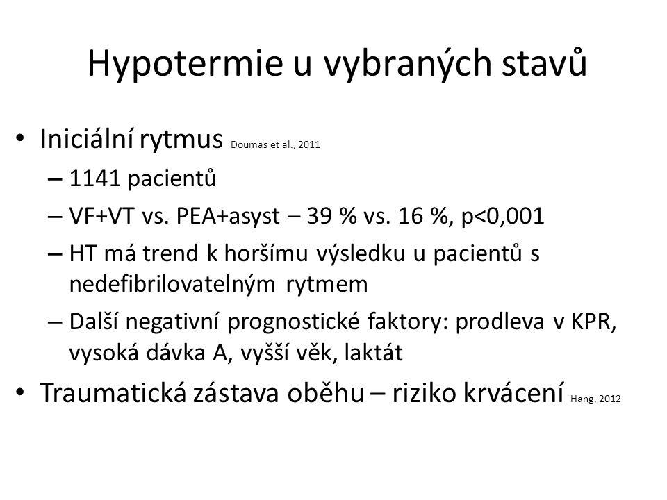 Hypotermie u vybraných stavů Iniciální rytmus Doumas et al., 2011 – 1141 pacientů – VF+VT vs.