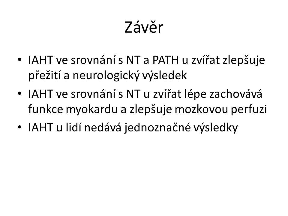 Závěr IAHT ve srovnání s NT a PATH u zvířat zlepšuje přežití a neurologický výsledek IAHT ve srovnání s NT u zvířat lépe zachovává funkce myokardu a zlepšuje mozkovou perfuzi IAHT u lidí nedává jednoznačné výsledky