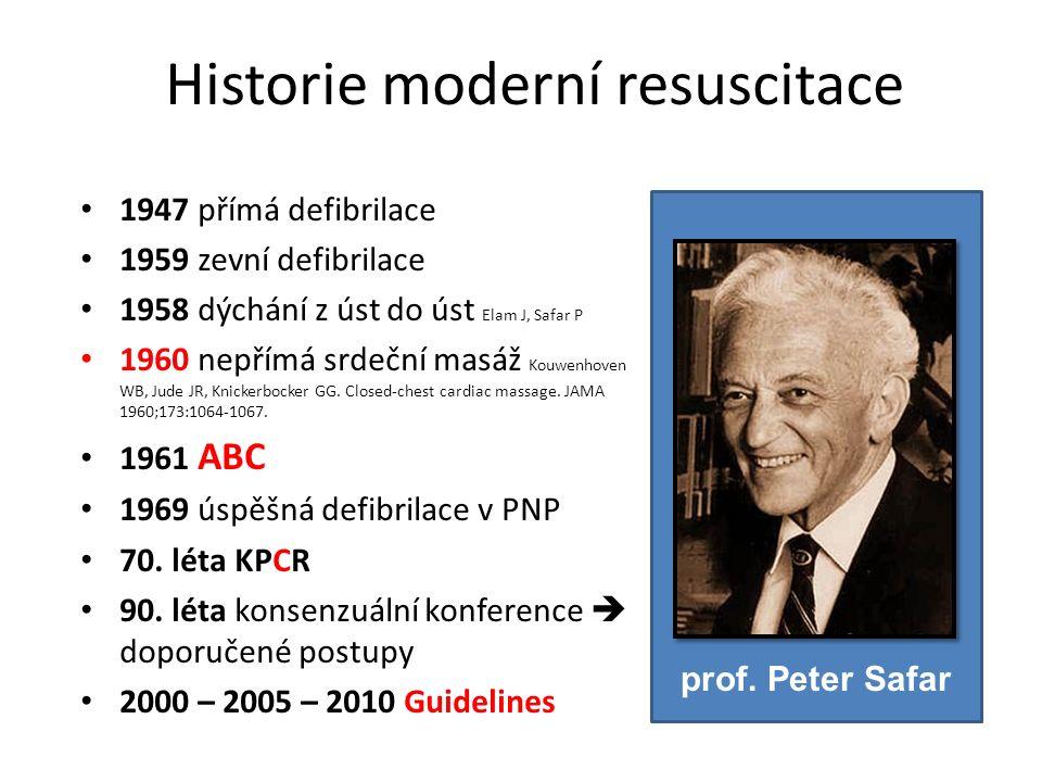 Historie moderní resuscitace 1947 přímá defibrilace 1959 zevní defibrilace 1958 dýchání z úst do úst Elam J, Safar P 1960 nepřímá srdeční masáž Kouwenhoven WB, Jude JR, Knickerbocker GG.