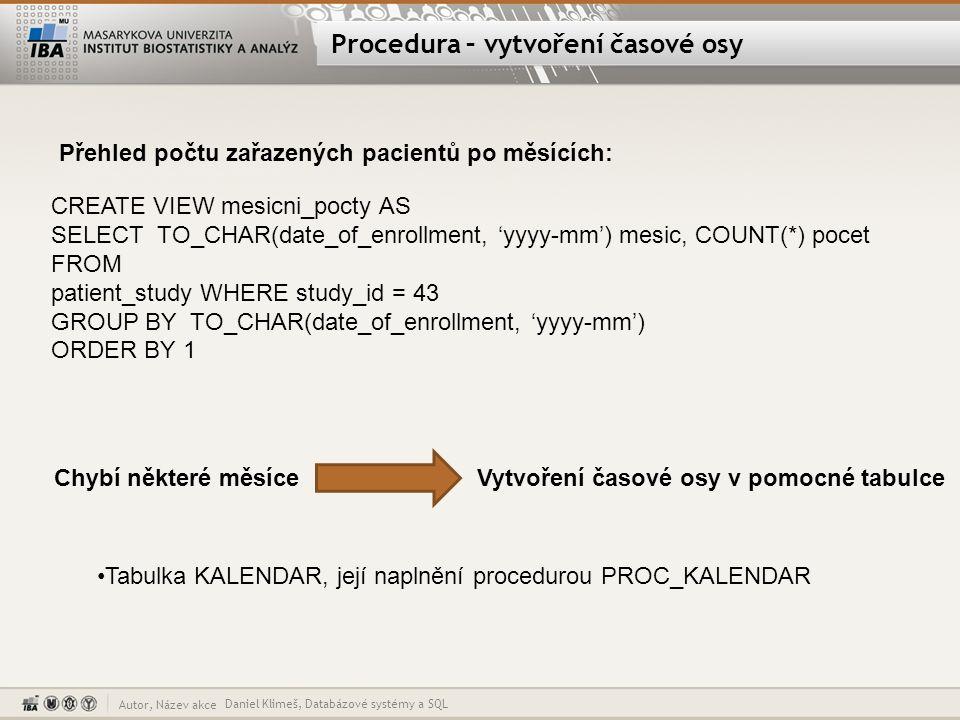 Autor, Název akce Procedura – vytvoření časové osy Daniel Klimeš, Databázové systémy a SQL CREATE VIEW mesicni_pocty AS SELECT TO_CHAR(date_of_enrollm