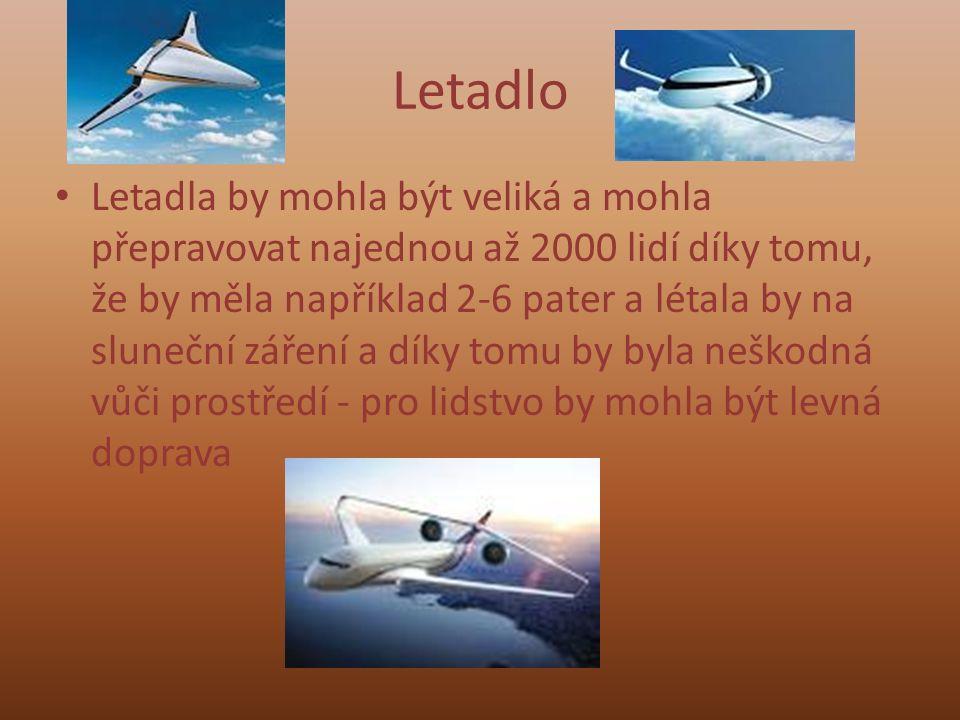 Letadlo Letadla by mohla být veliká a mohla přepravovat najednou až 2000 lidí díky tomu, že by měla například 2-6 pater a létala by na sluneční záření a díky tomu by byla neškodná vůči prostředí - pro lidstvo by mohla být levná doprava