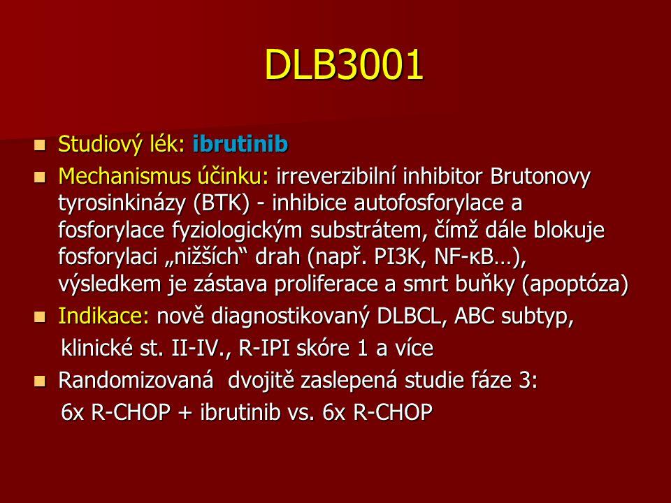"""DLB3001 DLB3001 Studiový lék: ibrutinib Studiový lék: ibrutinib Mechanismus účinku: irreverzibilní inhibitor Brutonovy tyrosinkinázy (BTK) - inhibice autofosforylace a fosforylace fyziologickým substrátem, čímž dále blokuje fosforylaci """"nižších drah (např."""