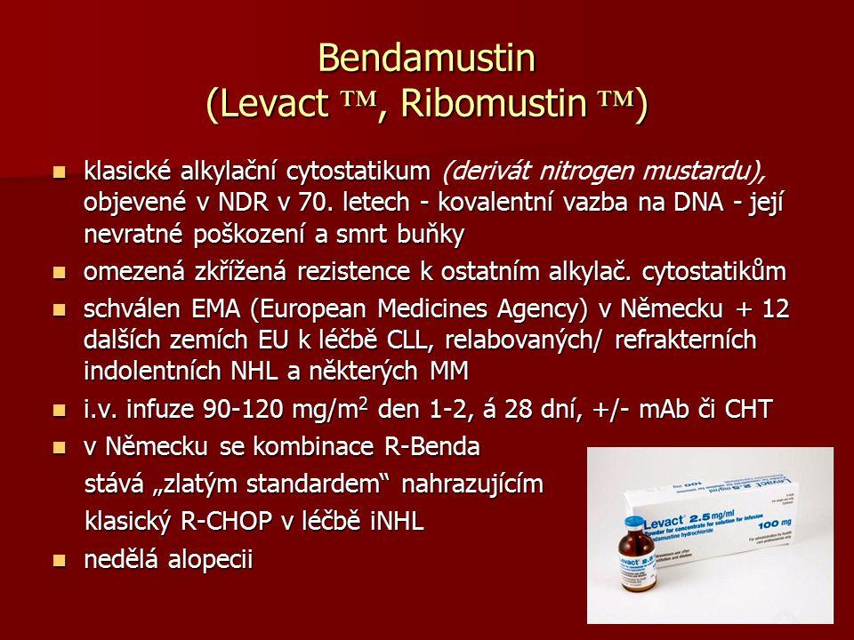 Bendamustin (Levact ™, Ribomustin ™ ) klasické alkylační cytostatikum objevené v NDR v 70. letech - kovalentní vazba na DNA - její nevratné poškození