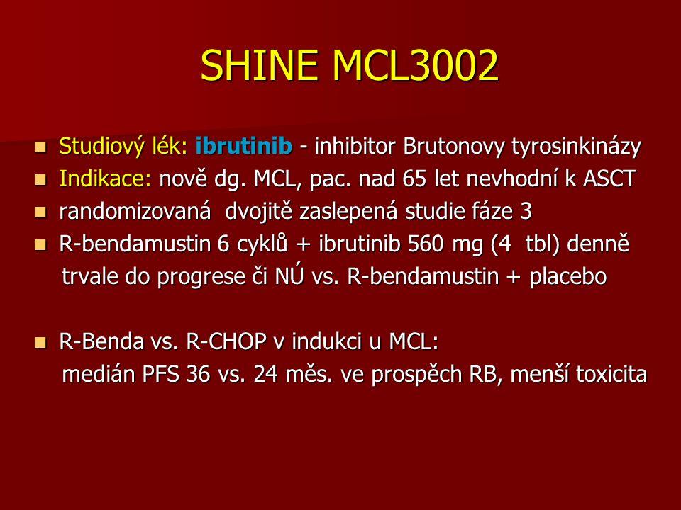 SHINE MCL3002 SHINE MCL3002 Studiový lék: ibrutinib - inhibitor Brutonovy tyrosinkinázy Studiový lék: ibrutinib - inhibitor Brutonovy tyrosinkinázy Indikace: nově dg.
