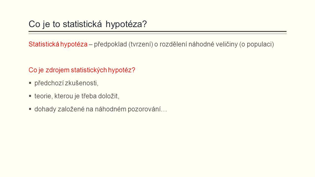 Jaké typy statistických hypotéz rozlišujeme.