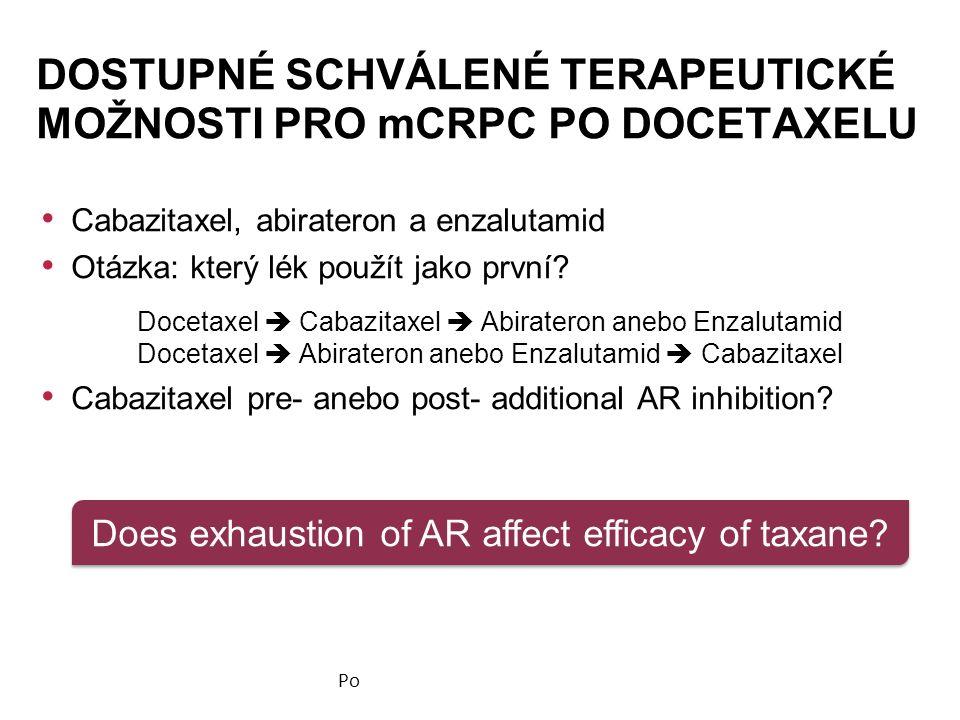 Cabazitaxel, abirateron a enzalutamid Otázka: který lék použít jako první.