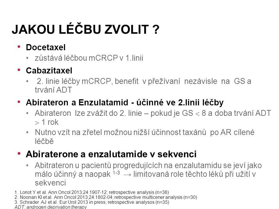 Docetaxel zůstává léčbou mCRCP v 1.linii Cabazitaxel 2.