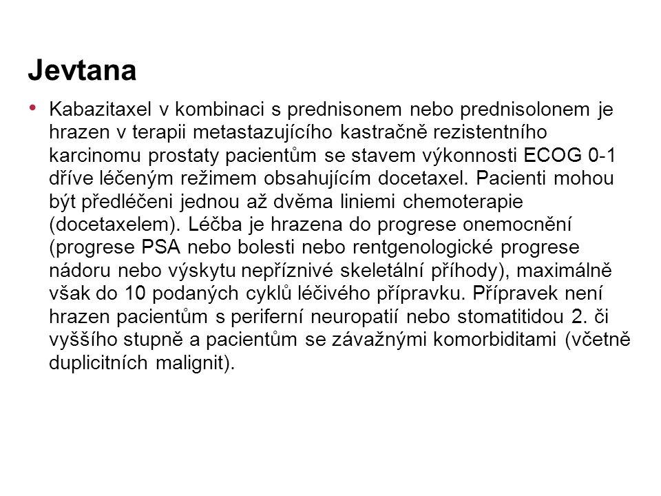 Kabazitaxel v kombinaci s prednisonem nebo prednisolonem je hrazen v terapii metastazujícího kastračně rezistentního karcinomu prostaty pacientům se stavem výkonnosti ECOG 0-1 dříve léčeným režimem obsahujícím docetaxel.